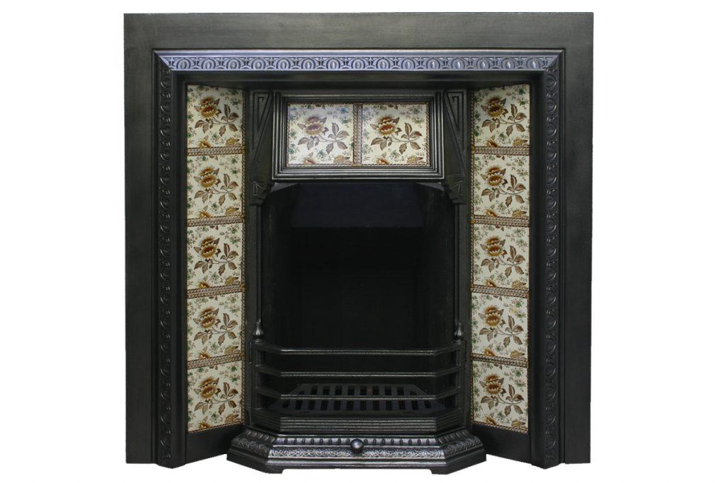 Antique Victorian cast iron fireplace grate-0