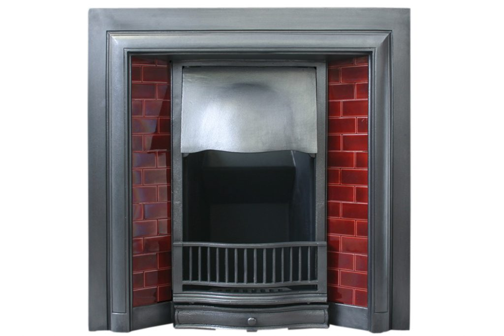 Antique Edwardian cast iron fireplace grate.-0