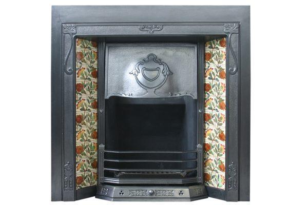 Antique Edwardian Arts & Crafts Cast Iron Fireplace Grate-0