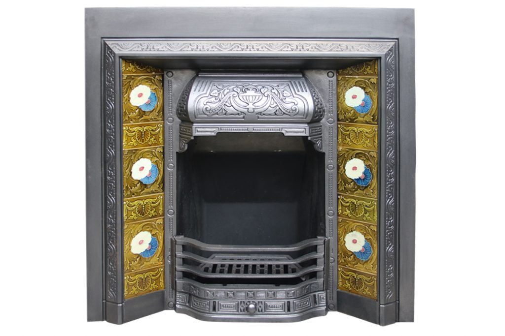 Reclaimed antique Victorian cast iron fire insert-0