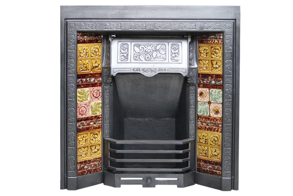 Reclaimed Victorian cast iron fireplace insert-0