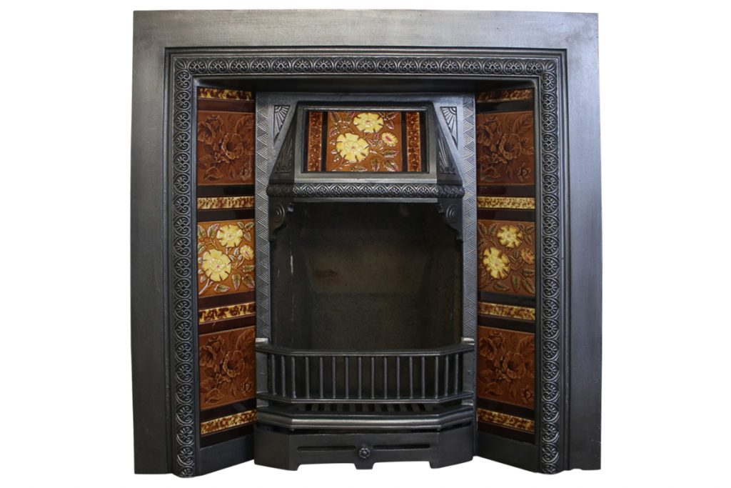 Reclaimed Victorian tiled fireplace grate. -0