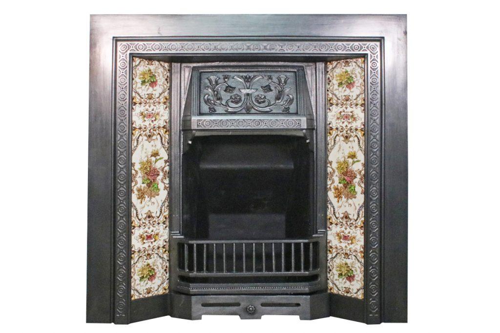 Antique Edwardian cast iron grate.-0