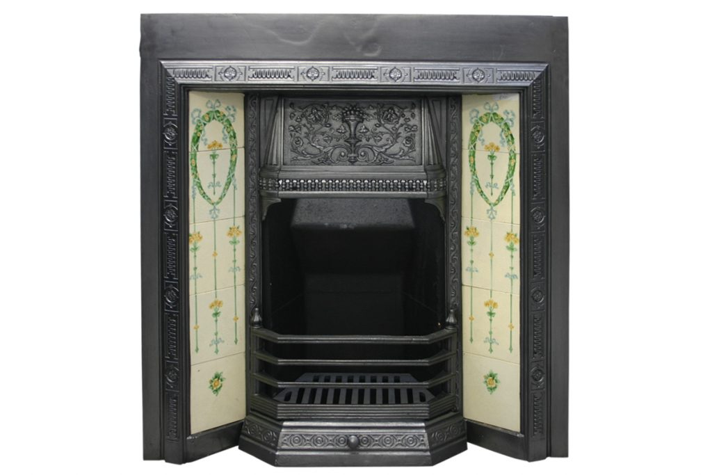 Classical Victorian cast iron fireplace grate.-0