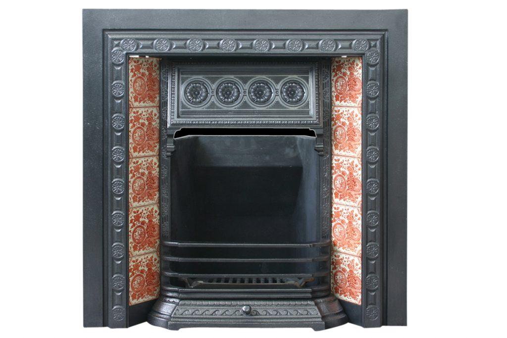 19th Century Victorian cast iron fireplace grate-0