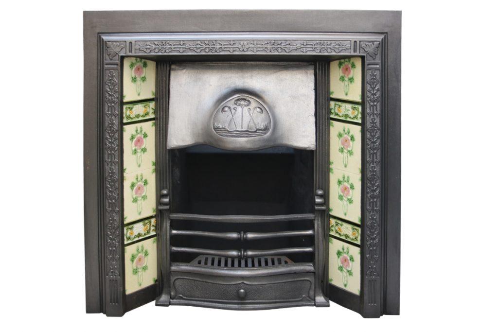 Antique Edwardian Art Nouveau cast iron fireplace insert-0