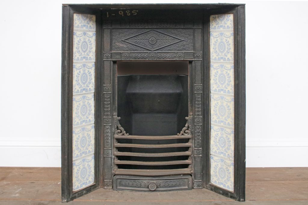 Reclaimed antique late Victorian tiled fireplace grate-0