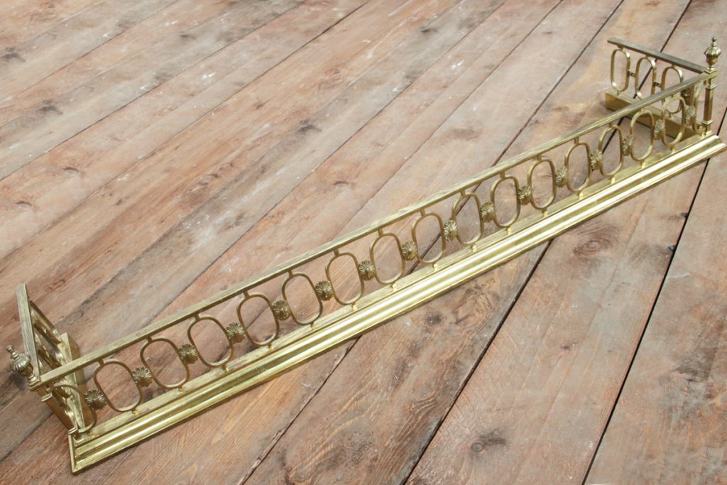 Antique early Victorian barss fireplace fender-0