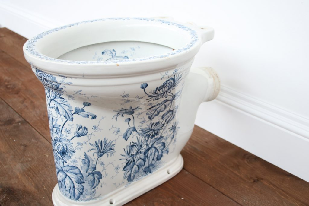 The Imperial Antique blue and white Victorian toilet-0