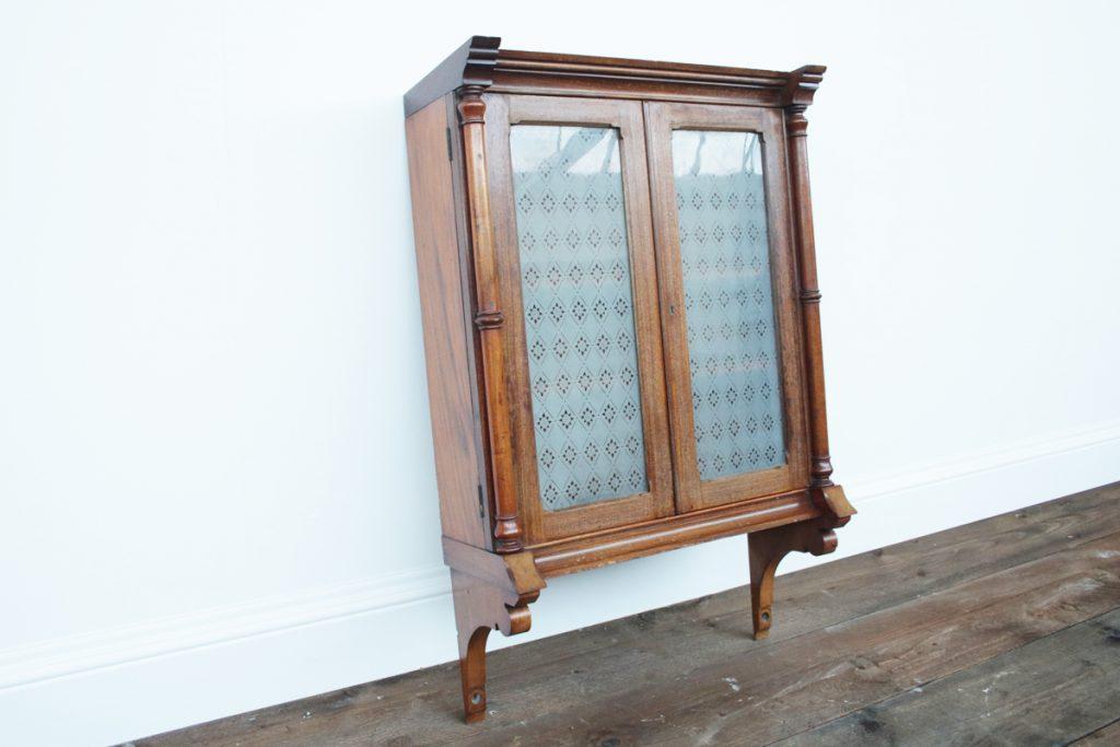 Antique Victorian Mahogany Glazed Hanging cabinet-0