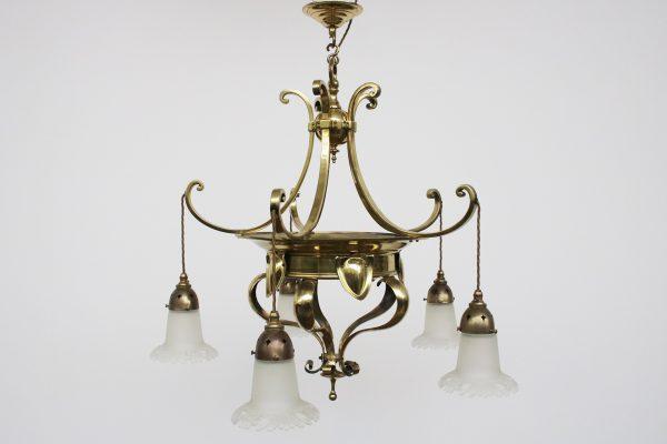Edwardian Art Nouveau brass five branch ceiling light-0