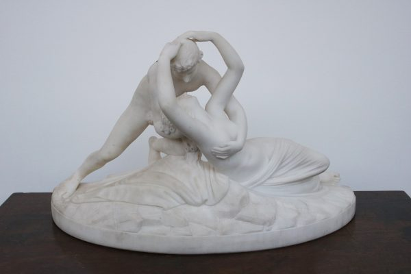 A sculpture of Psyche Revived by Cupid's kiss.-0