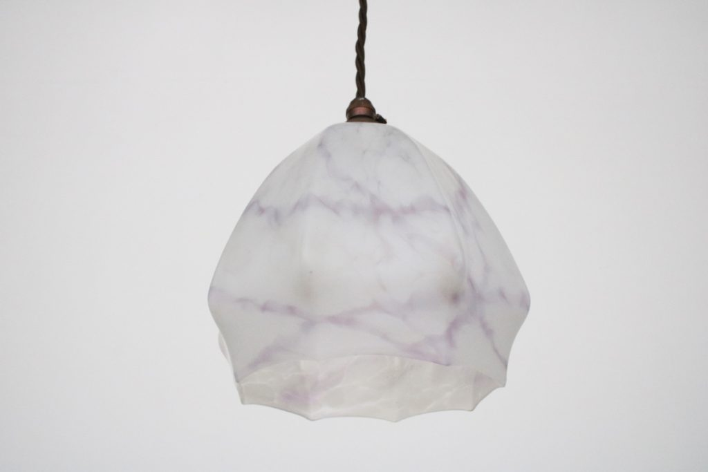 Vintage mottled glass pendant light shade-0