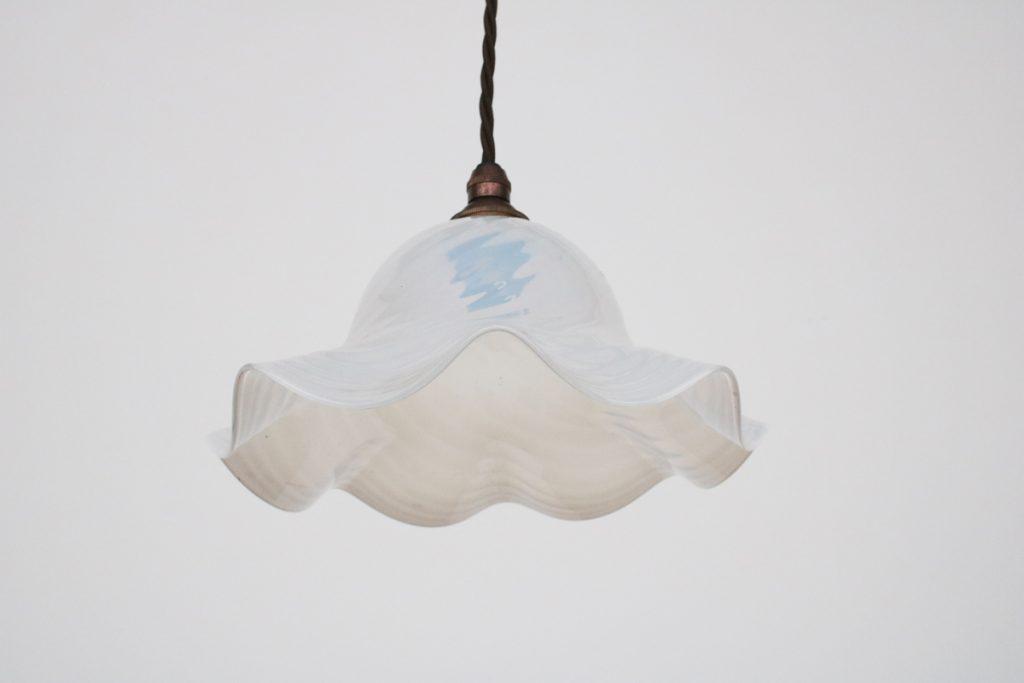 Antique vaseline glass pendant light shade-0