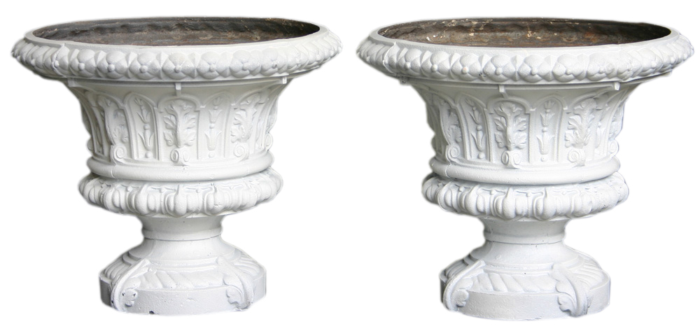 Antique Pair of mid Victorian cast iron garden urns. -0