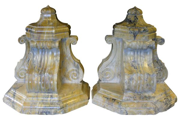 Large pair of antique sienna marble brackets-0
