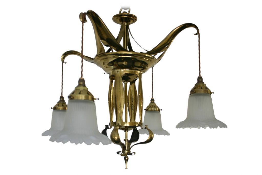Edwardian Art Nouveau brass four branch ceiling light-0