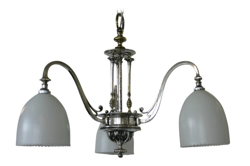 Very Elegant Edwardian chrome plated 3 branch ceiling light-0