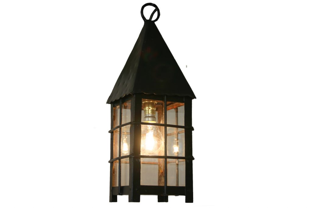Small reclaimed late 20th Century steel and glass lantern-0
