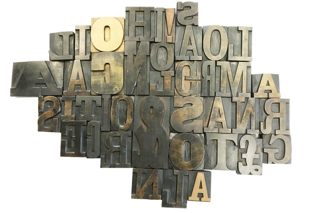 Collection of large vintage wooden letter blocks-0
