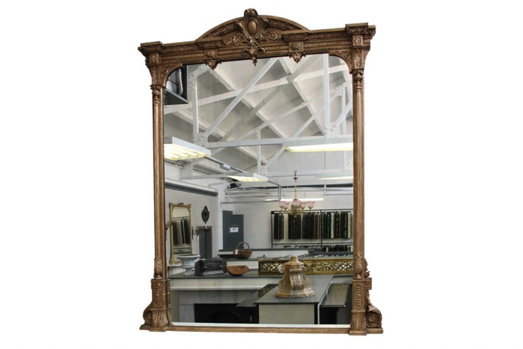 Large and impressive Victorian gilt wood overmantle mirror-0