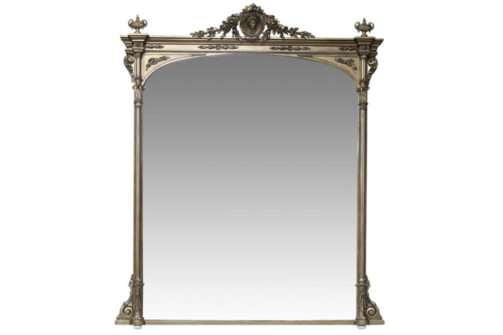 Large 19th century overmantle mirror-0
