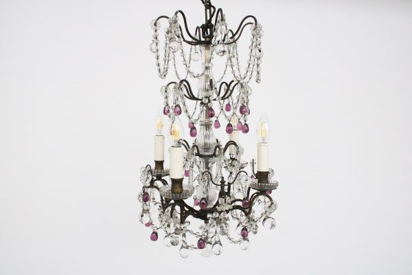 French brass and glass 4 arm chandelier-0