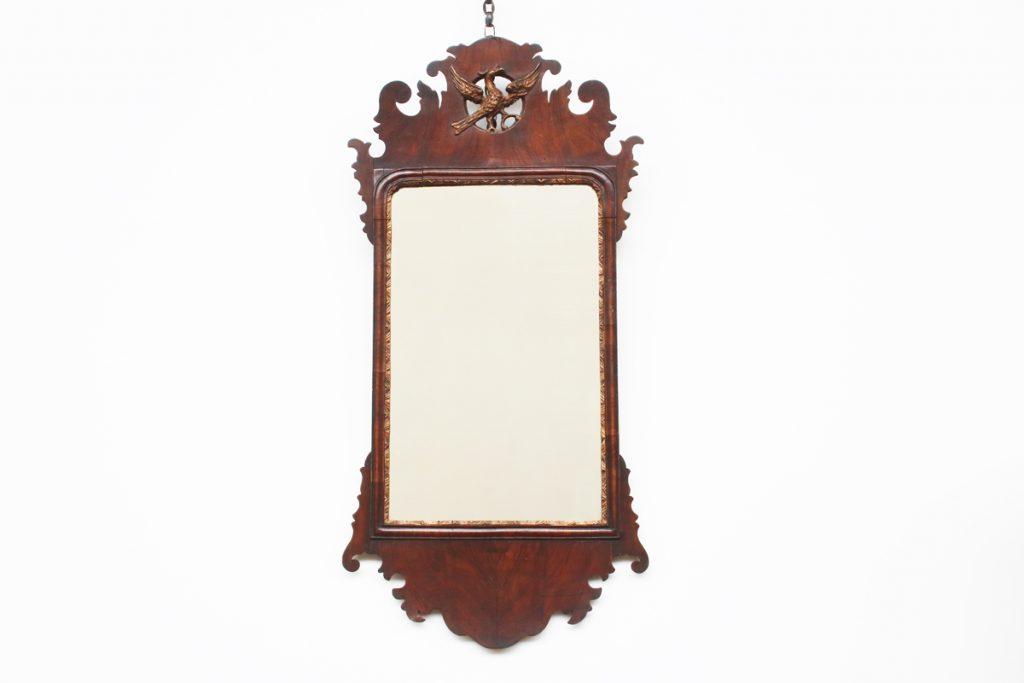 18th Century George II veneered walnut and gilt wall mirror-0