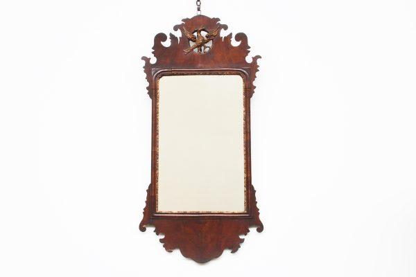 18th Century George II veneered walnut and gilt wall mirror-0