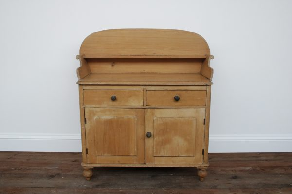 Antique Victorian pine cupboard with drawers-0