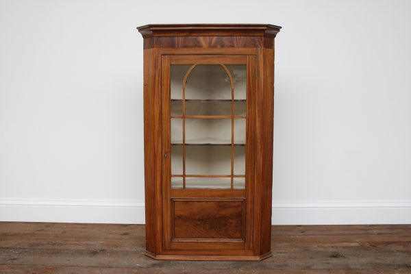 Antique Victorian mahogany glazed hanging corner cupboard-0