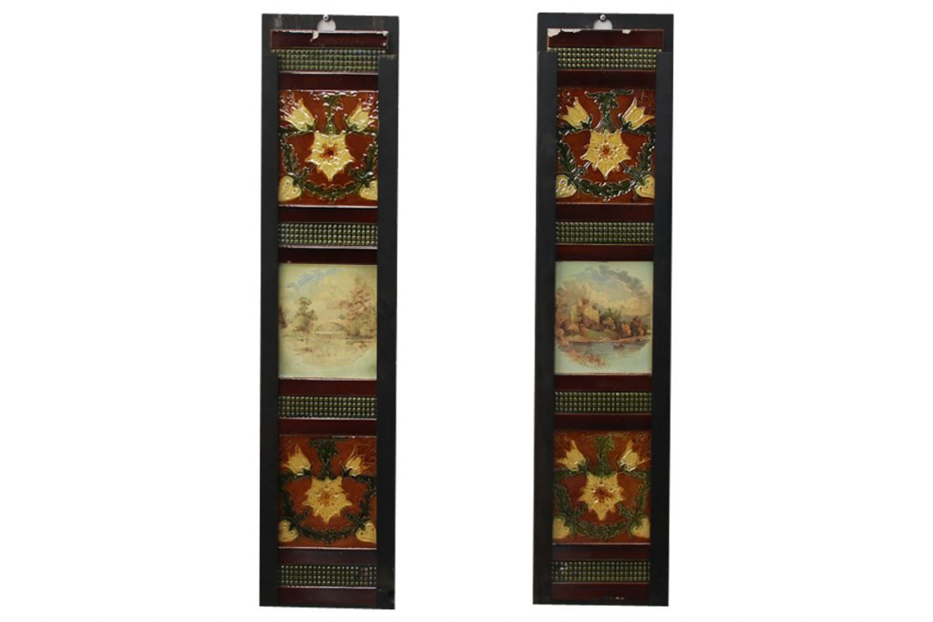 Set of antique Victorian fireplace tiles-0