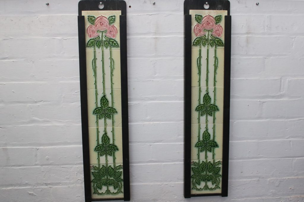 A run of original antique Edwardian Art Nouveau fireplace tiles-0