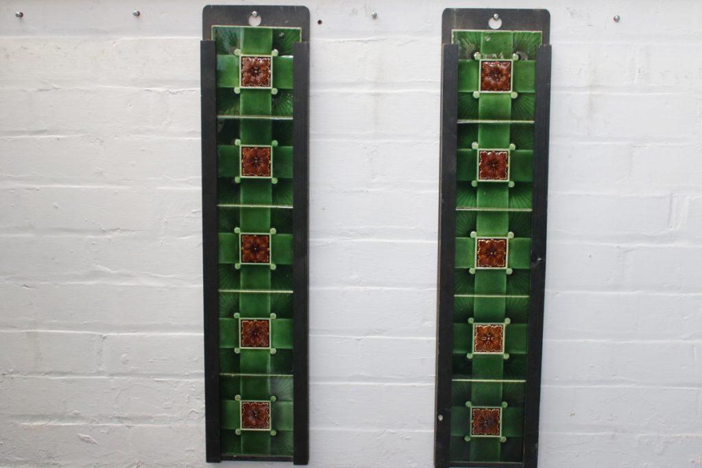 Set of original antique Edwardian majolica fireplace tiles-0