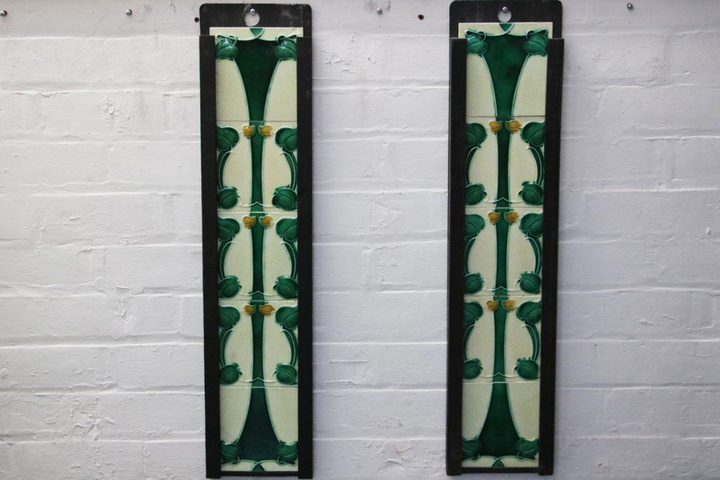 Set of original antique Edwardian Art Nouveau fireplace tiles-0