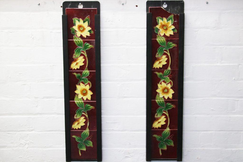 Set of original antique Edwardian fireplace tiles-0