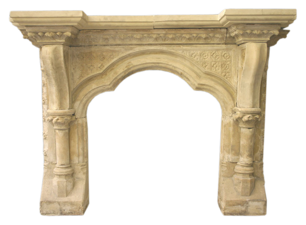 Reclaimed Victorian Gothic limestone surround-0