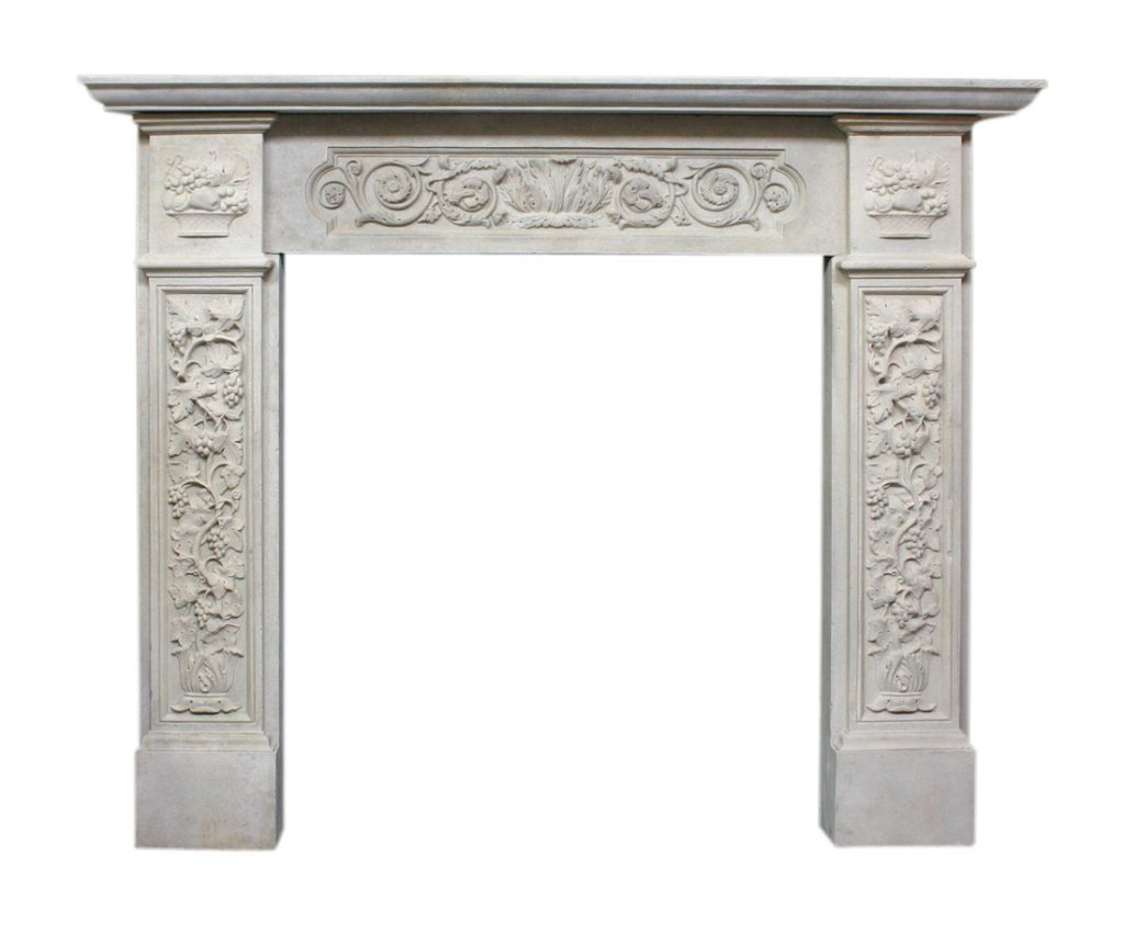 Antique Victorian composition stone fireplace surround-0