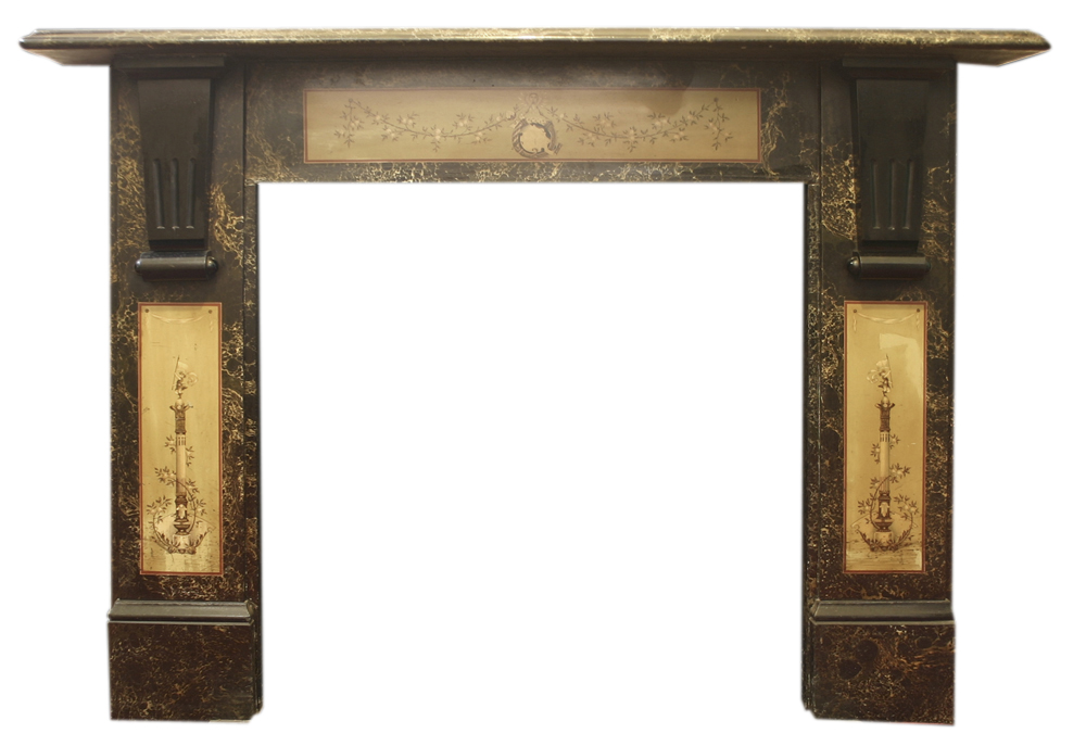 Antique late Victorian painted slate fireplace surround-0
