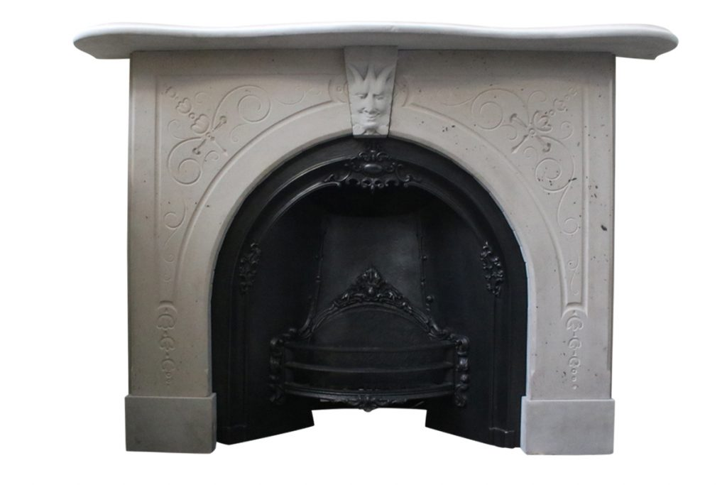 Reclaimed mid 19th century stone fireplace surround -0