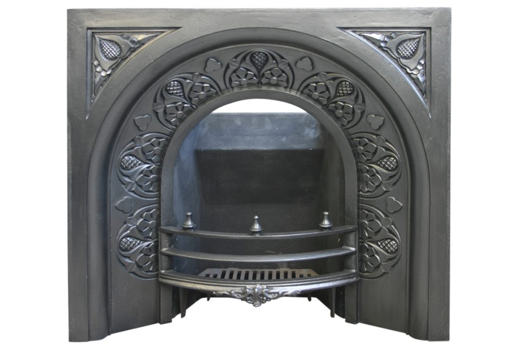 19th Century Victorian arched cast iron fire insert.-0