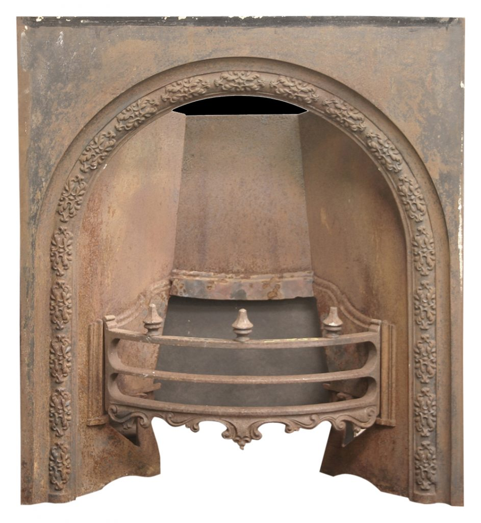 Antique Victorian arched cast iron fireplace insert.-0