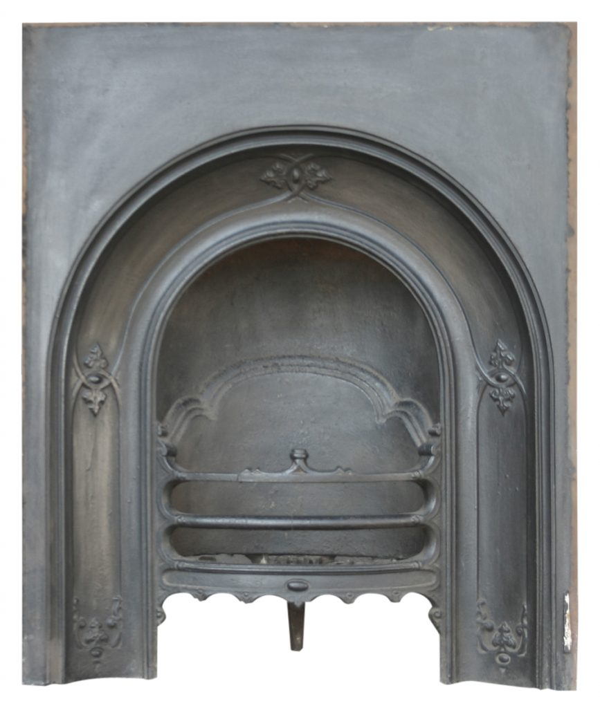 Antique mid Victorian cast iron arched fireplace insert-0