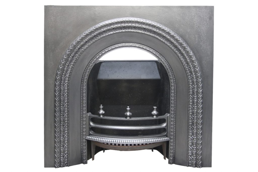 Reclaimed Victorian cast iron fireplace insert with arched aperture-0