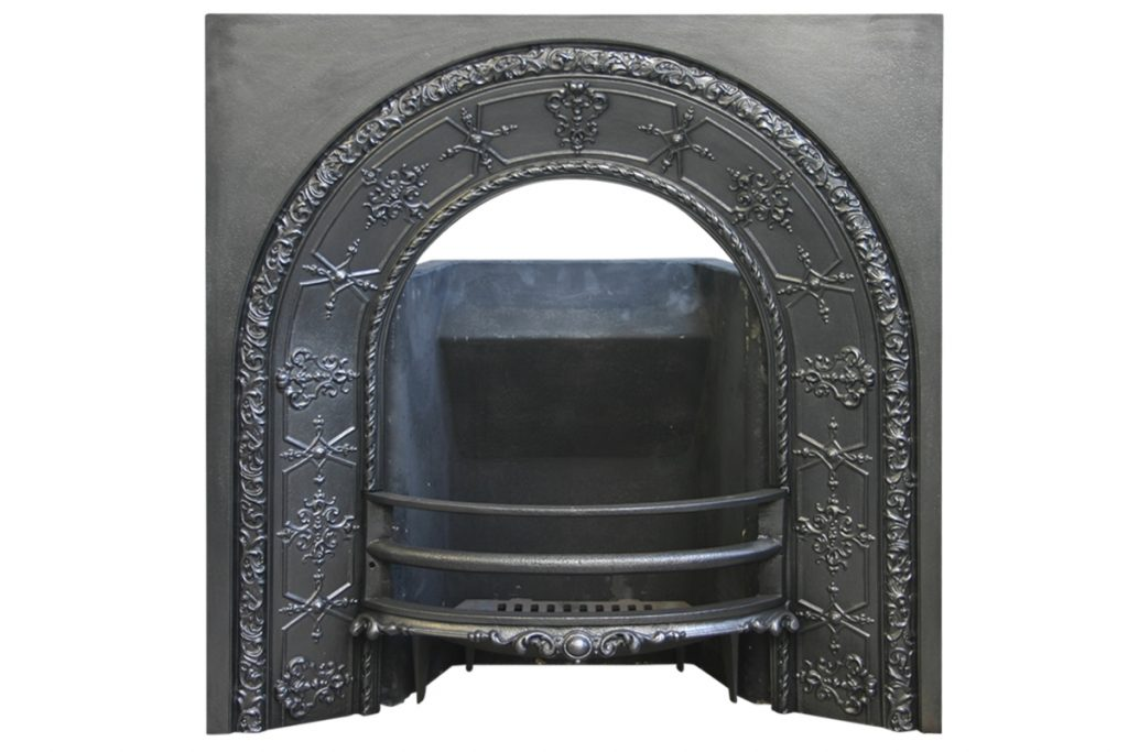 Ornate Mid Victorian Arched Fireplace Grate.-0