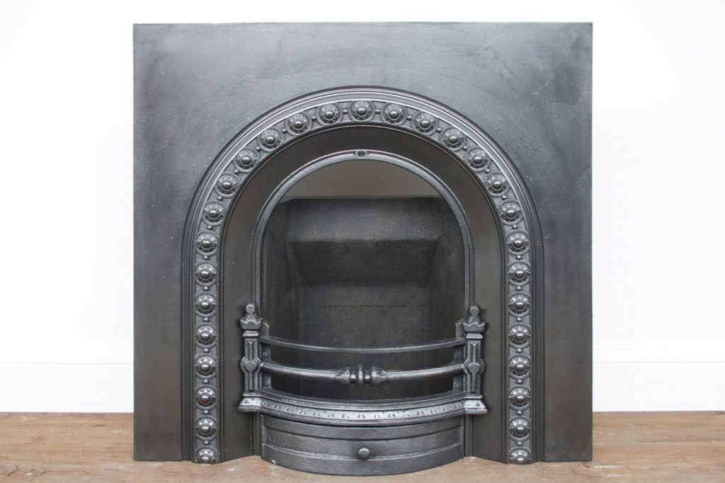 Reclaimed Victorian cast iron arched fireplace grate-0