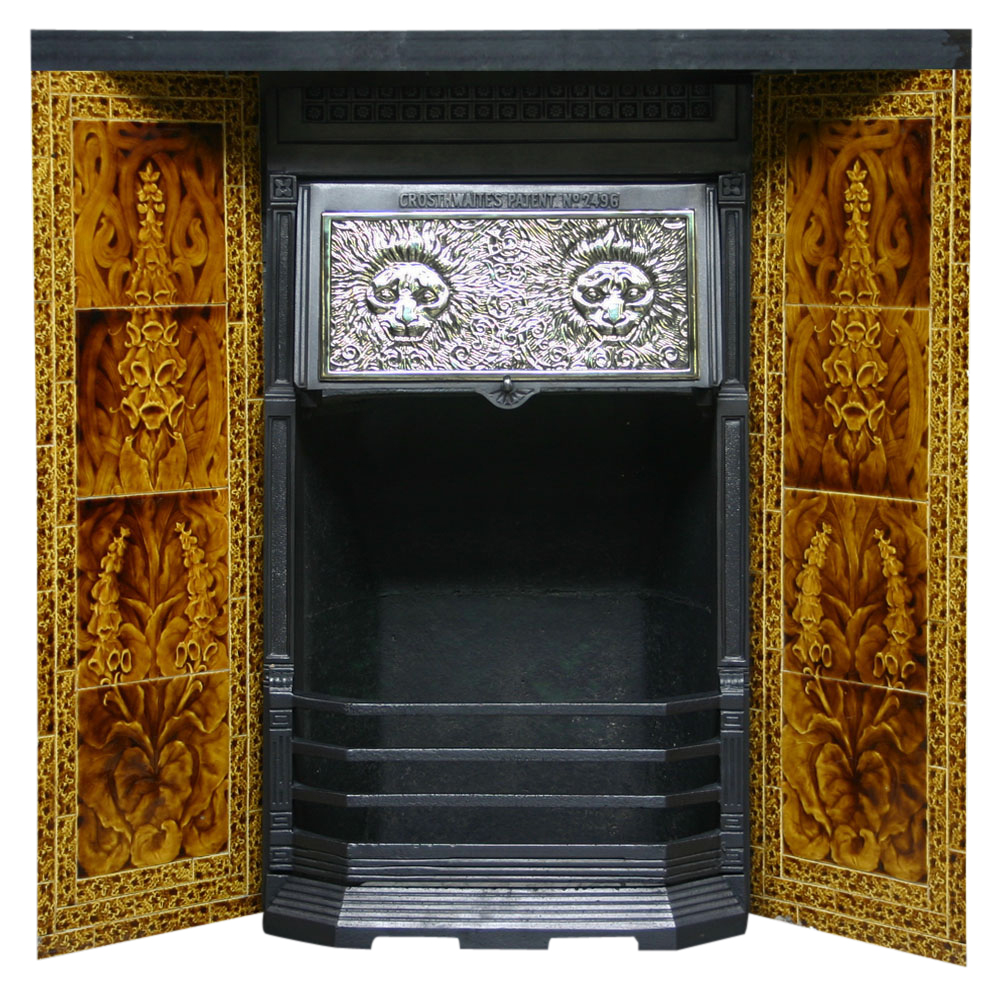 Reclaimed Victorian Crosthwaites patent canopy on legs with tile panels.-0