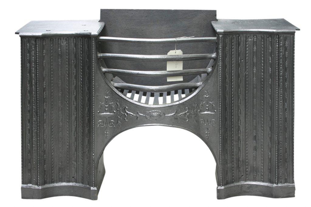 Georgian cast iron hob grate in the manner of Robert Adam-0