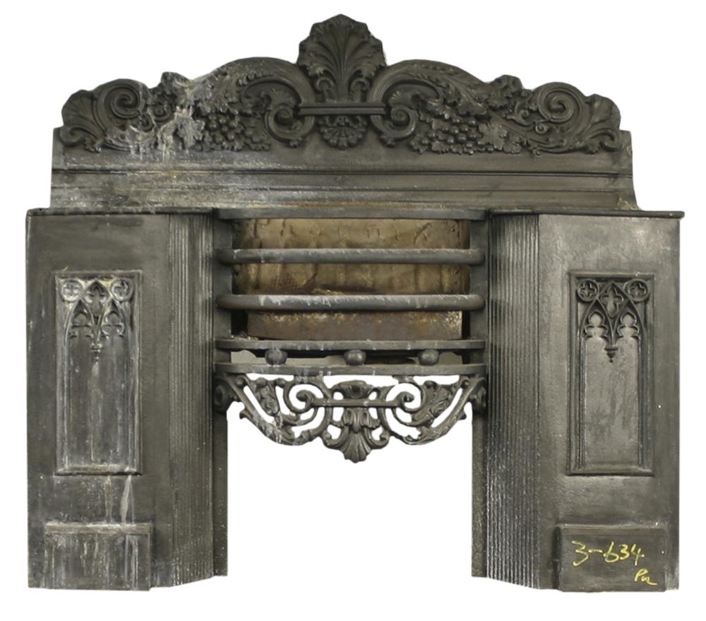 Antique Georgian cast iron hob grate. -0