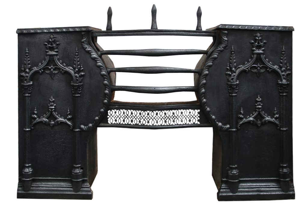 Antique Georgian cast iron hob grate-0